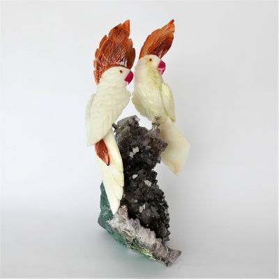 Love Birds Gemstone sculpture