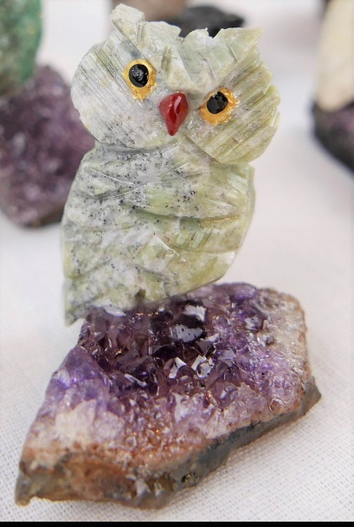Miniature Coloured Crystal Owl. Gemstone Sculpture