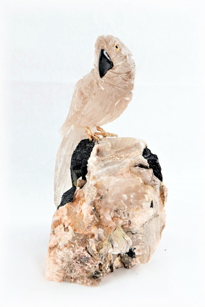 Clear Crystal Parrot on Black Tourmaline Base. Gemstone Sculpture.