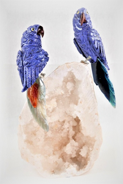 Blue Lovebirds on White Quartz Crystal Base. Gemstone Sculpture