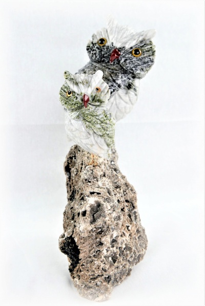 Pair Green White Crystal Owls on Crystal Rock Base. Gemstone Sculpture