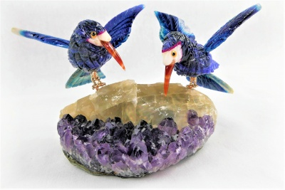 Blue Sunbird Pair on Amethyst Base. Gemstone Sculpture