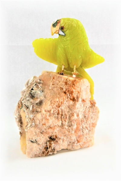 Yellow Green Crystal Parrot on Crystal Rock Base. Gemstone Sculpture