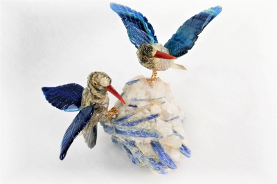 Sunbird Pair with Quartz / Angelite Base. Gemstone Sculpture
