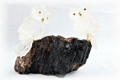 Pair Clear Crystal Owls on Black Tourmaline Base. Gemstone Sculpture.