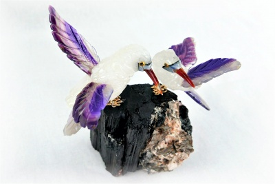 Sunbird Pair on Black Tourmaline Base. Gemstone Sculpture