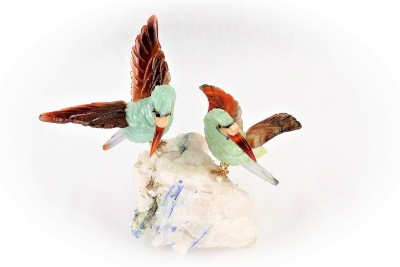 Sunbird Pair on Quartz /Angelite Base. Gemstone Sculpture