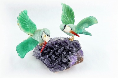 Sunbird Pair on Amethyst Base. Green crystal. Gemstone Sculpture