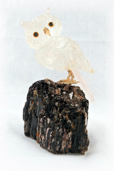 Clear Crystal Owl on Black Tourmaline Base. Gemstone Sculpture