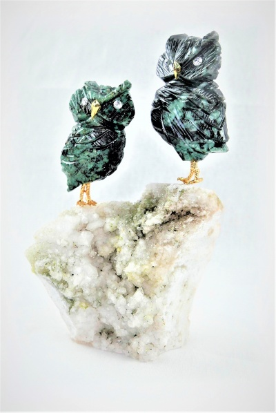 Pair Green Crystal Owls on Quartz Crystal Base. Gemstone Sculpture