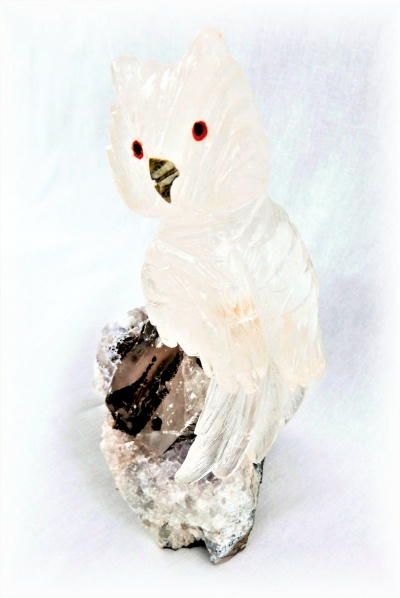 Clear Crystal Owl on Quartz Crystal Base. Gemstone Sculpture