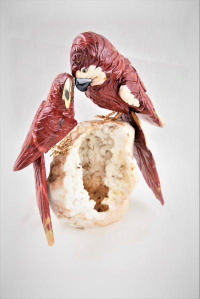 Pair Red Parrots on White Quartz Crystal Base. Gemstone Sculpture