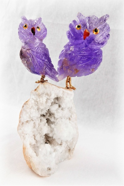 Pair Purple Crystal Owls on White Quartz Crystal Base. Gemstone Sculpture