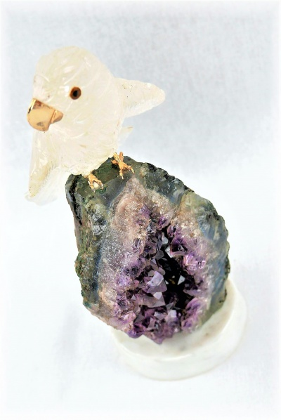 Clear Crystal Parrot on Amethyst Base. Gemstone Sculpture.
