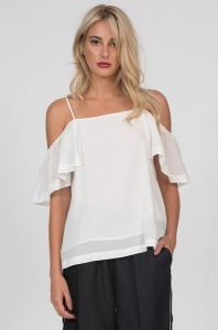 Gold Hawk Off-Shoulder Silk Cami Top