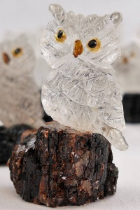 Miniature Clear Crystal Owl. Gemstone Sculpture