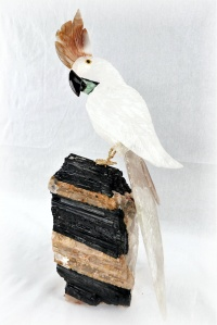 White and Clear Crystal Parrot on Black Tourmaline Base Gemstone Sculpture