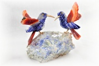 Sunbird Pair on Angelite Base. Red Agate Gemstone Sculpture