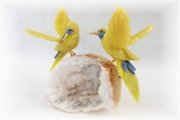Sunbird Pair on White Quartz  Base. Yellow crystal Gemstone Sculpture