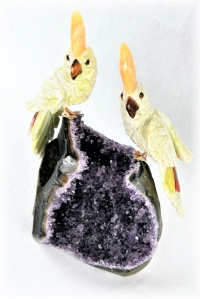 White / Green Lovebirds on Amethyst Crystal Base. Gemstone Sculpture