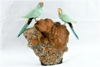 Green Lovebirds on Calcite Crystal Base. Gemstone Sculpture