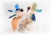 Sunbird Pair with White Quartz Base. Gemstone Sculpture