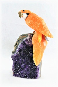 Orange Crystal Parrot on Amethyst Base. Gemstone Sculpture.
