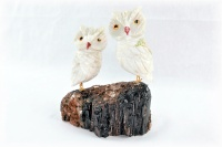 Pair White Crystal Owls on Black Tourmaline Base. Gemstone Sculpture.