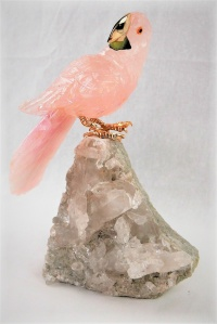 Rose Crystal Parrot on Clear Quartz Base. Gemstone Sculpture