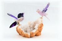Sunbird Pair on White Quartz Crystal Base. Amethyst Agate Gemstone Sculpture