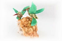 Green Sunbird Pair with White Quartz Base. Gemstone Sculpture