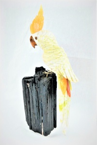 White Green Crystal Parrot on Black Tourmaline Base. Gemstone Sculpture