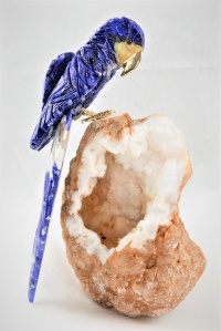 Blue Crystal Parrot on White Quartz Base. Gemstone Sculpture