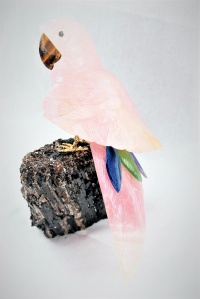 Rose Crystal Parrot on Black Tourmaline Base. Gemstone Sculpture