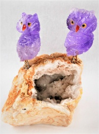 Pair Purple Crystal Owls White Quartz Crystal Base. Gemstone Sculpture